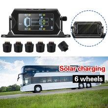 Sistema de supervisión de presión de neumáticos para coche RV, camión, TPMS, con 6 sensores externos, batería reemplazable, alarma de temperatura