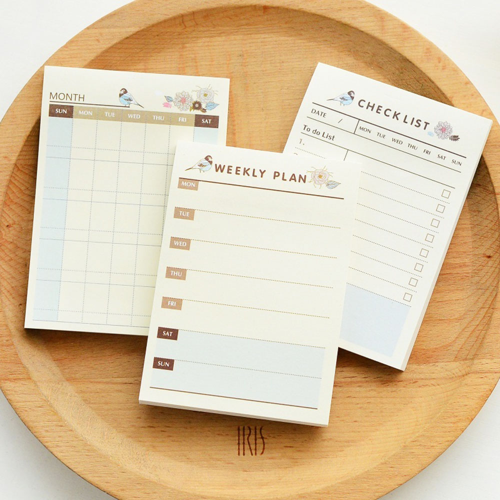 1PC Cute Weekly Monthly Plan Time Schedule Checklist Desk Note Pad Planner Agendas Sticky Notes Memo Pad Office School Supplies
