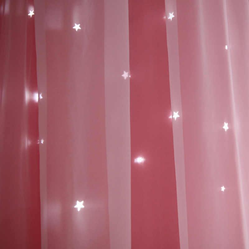 Woonkamer Meisjes Slaapkamer Gordijnen Dubbele Geïsoleerde Gordijnen Kan Worden Aangepast Sky Blue Roze Opengewerkte Sterren Verduisterende Gordijnen