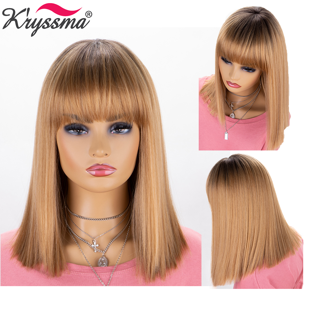 Short Bob Golden Blonde Wigs For Withe/Black Women Cosplay Synthetic Wigs Heat Resistant Women's Wigs With Bang Natural Straight