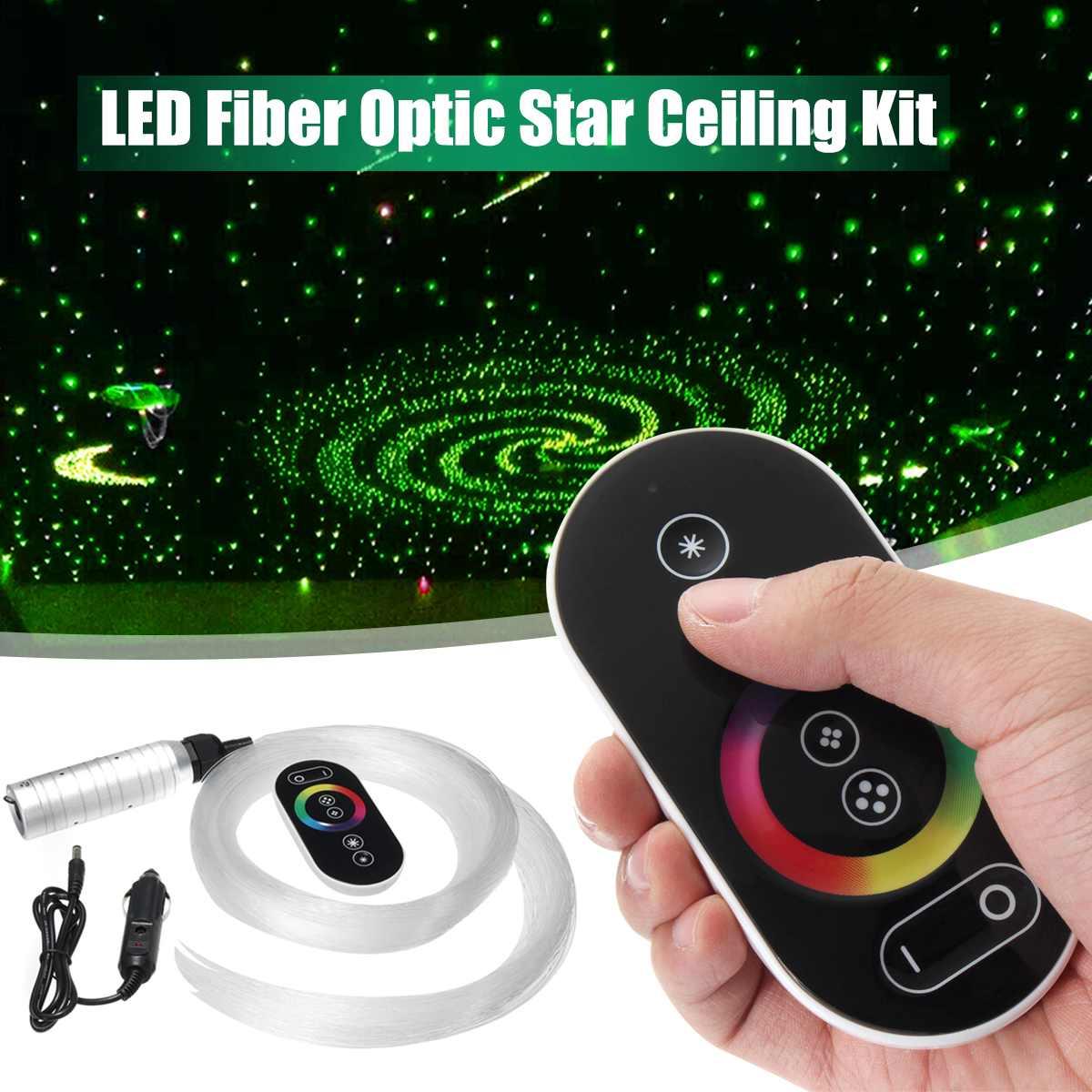 12V 6W RGB LED Fiber Optic Star Ceiling Engine Sky Ceiling Kit Light 150Pcs 0.75m 2m Optical Fiber Twinkle W/28 Key Wireless RF