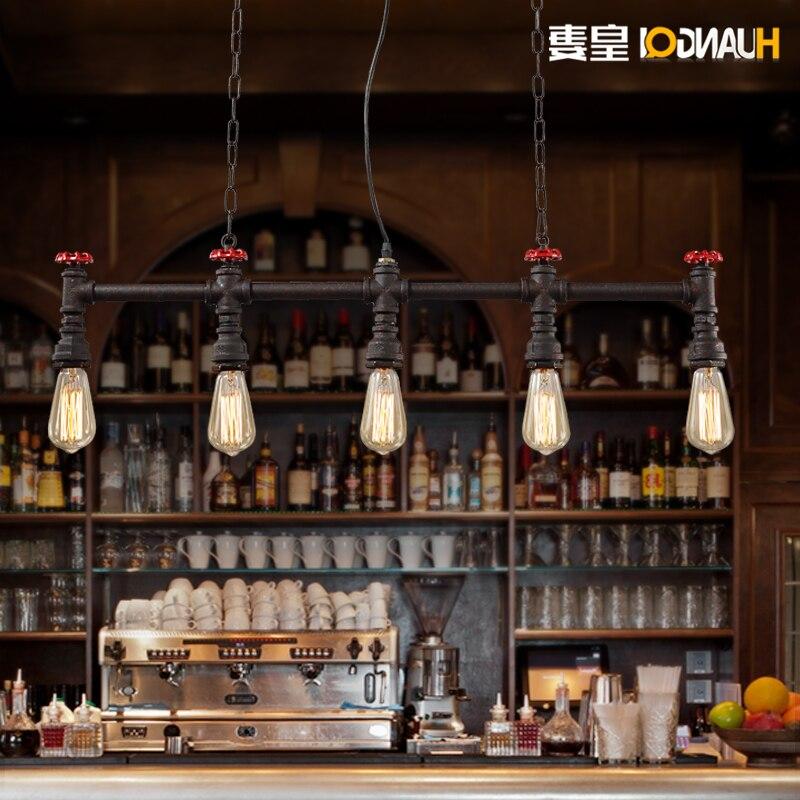 Femme de Huang personnalité café barre vent Pipe industrie Diffuse Loft rétro fer barre luminaire