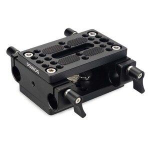 Image 4 - Kamera Montage Platte Stativ Einbeinstativ Montage Platte mit 15mm Rod Schellen Railblock Für Stange Unterstützung Schiene DSLR Kamera Rig