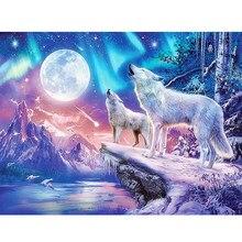 5d diy quadrado completo/redondo diamante pintura neve lobo diamante bordado animais casa decoração presente mosaico inverno cenário padrão