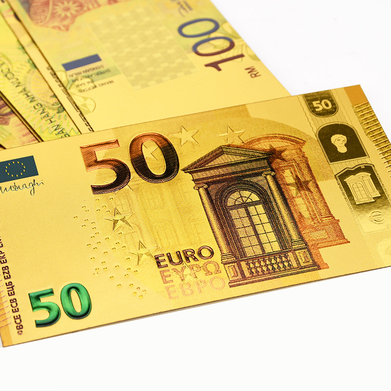 10pcs EUR Gold Banknotes Gold Foil Money 24K Gold Fake Paper Money for Collection Souvenir 5 10 20 50 Euro Banknote Sets Sample