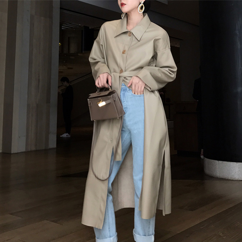 2019 New Autumn PU Leather Trench Women Coat Fashion Chic Long Outwear Loose Lady Coats Single-breasted Female Long Coats