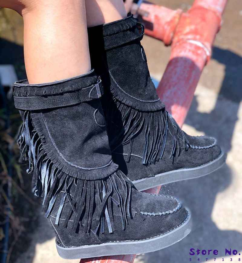 Retro Womens Shoes Tassels Pull On Bohemian Mid Calf Boots Hidden Mid Heels Hot