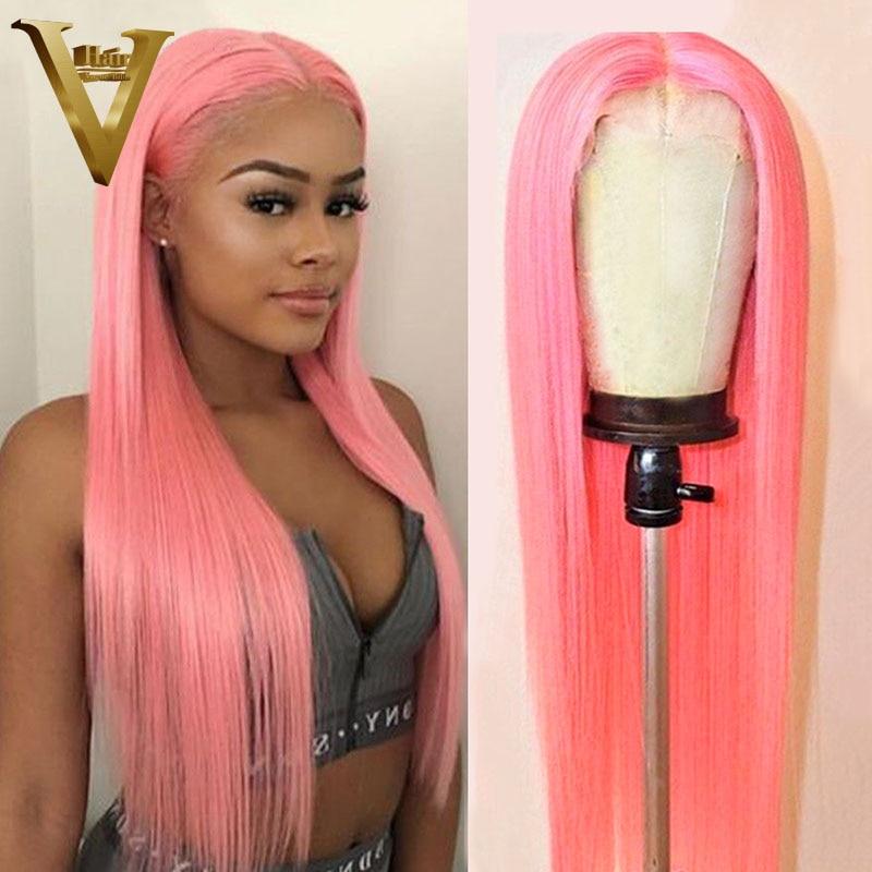 Розовый парик, человеческие волосы, длинный прямой парик на сетке спереди, бразильские волосы Remy розового цвета, парики для женщин, предвари...