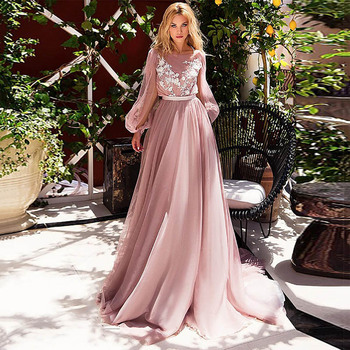 Eightale Arabic Evening Dresses Princess Pink O-Neck Long Sleeves Prom Gowns Flowers Tulle A-Line Party Dress for Graduation vensanac 2018 o neck metal leaf sash long a line evening dresses vintage tank lace crystals party tulle prom gowns