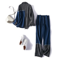 Denim Patchwork Hit Color Plaid Two Piece Set For Women Lapel Collar Long Sleeve Coat High Waist Jeans Female Suit