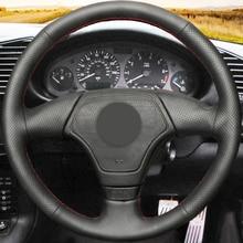 Steering-Wheel-Cover Artificial-Leather Bmw E46 Black for E36 E39 Hand-Stitched Non-Slip