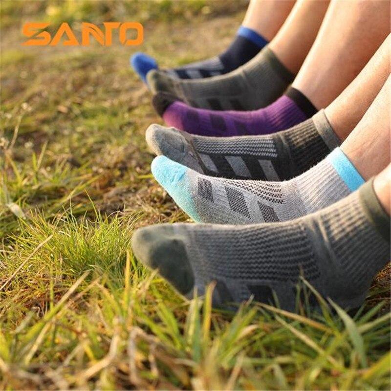 Мужские спортивные носки (3 пар/лот) SANTO/S045 быстросохнущие 50% Coolmax 30% хлопковые теплые носки для пешего туризма на открытом воздухе