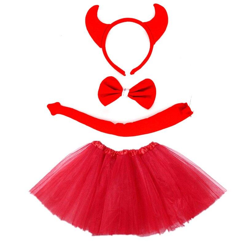 Kids Girl Devil Evil Demon Ear Costume Party Fancy Dress Cosplay Set  Halloween Costumes for Kids Baby Shower Birthday Christmas