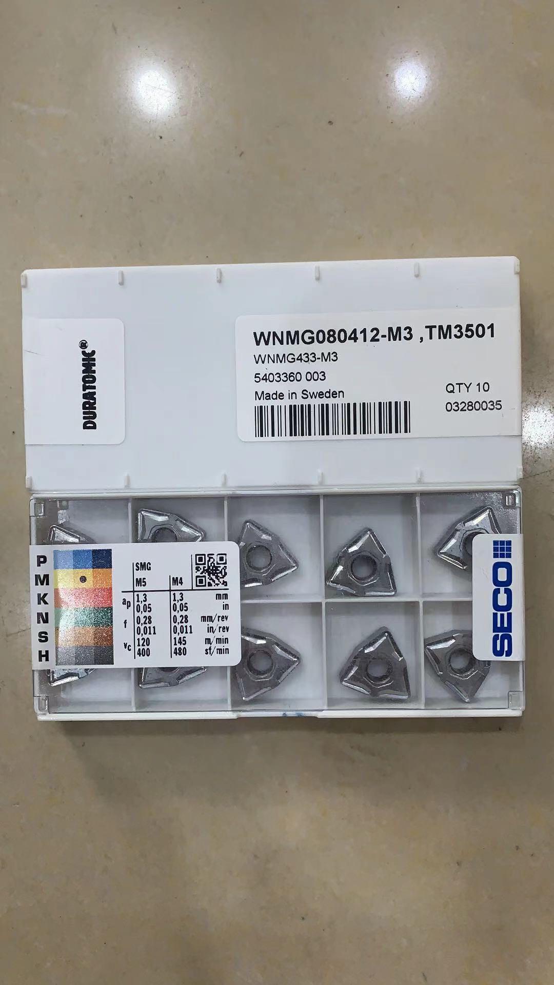 Seco cnc inser TNMG160408-MF3 tm3501/WNMG080404-MF3 tm3501/WNMG080408-MF3 tm3501/wnmg080412/torneamento de aço inoxidável