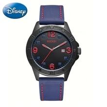 Микки Teen мода календарь водонепроницаемый кварцевые часы ребенка давления масла супер прохладный Кожаный ремешок черный синий Дисней часы время