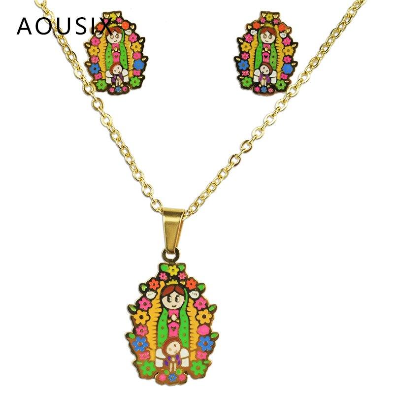 La vierge marie 100% plaqué or en acier inoxydable collier boucles d'oreilles ensemble le fils de dieu ensemble de bijoux enfants ensemble bijoux femme 3