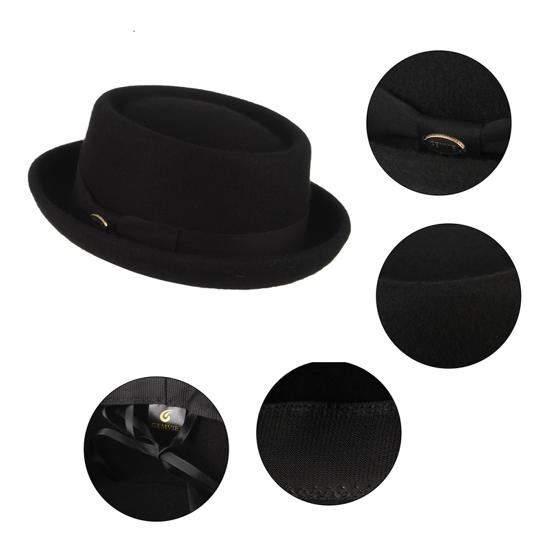 Image 4 - GEMVIE Men Women 100% Wool Felt Crushable Porkpie Fedora Hat Vintage Curved Brim Pork Pie Wool Hat Autumn Winter-in Men's Fedoras from Apparel Accessories