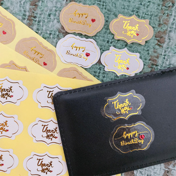 120 Pcs/lot Cloud shape Thank you happy birthday package seal label products  Kraft paper Adhesive Baking Seal Sticker