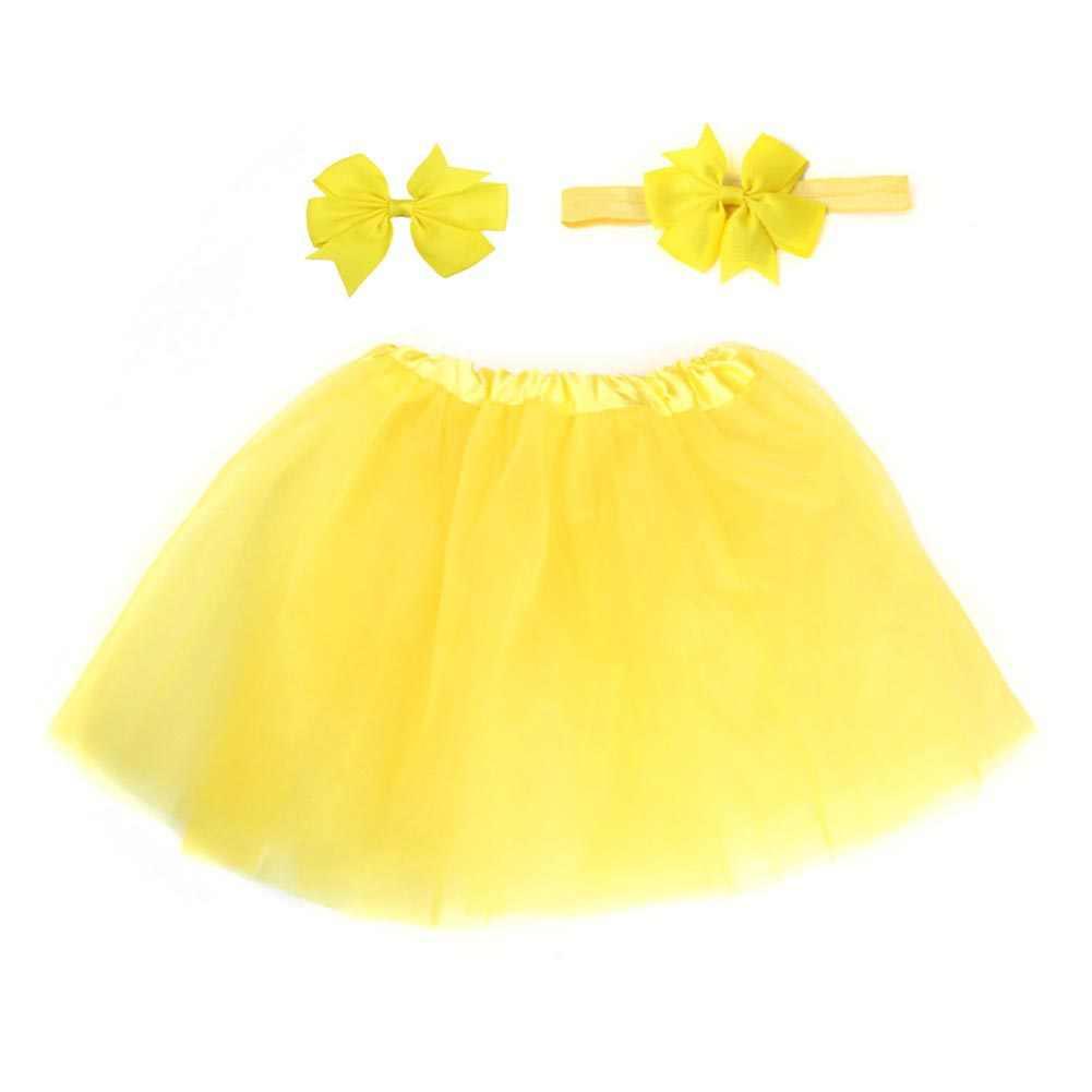 3 개/대 아기 소녀 옷 캔디 컬러 부드러운 tulle tutus 치마 머리띠 머리핀 사진 생일 파티 kawaii 스커트에 대 한