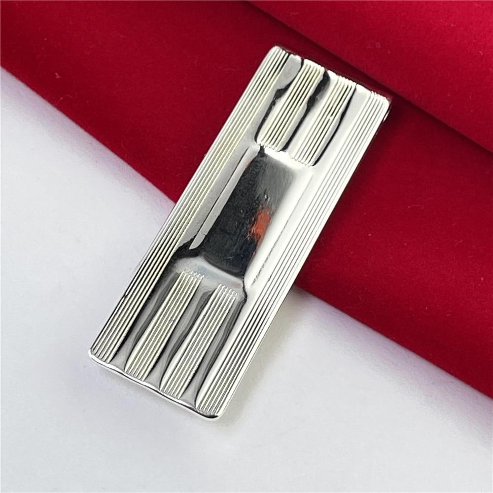 925 Silver Money Clip Striped Money Clip Fashion Jewelry Gift-0