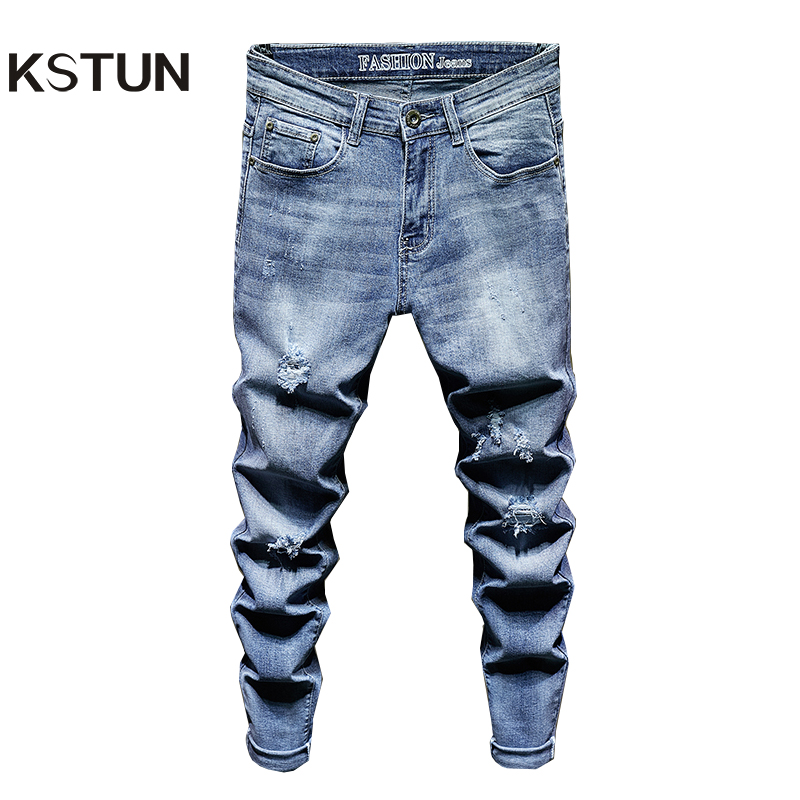 Mens Ripped Jeans Slim Fit Light Blue Stretch Fashion High Street Jeans Destroyed Frayed Hip Hop Male Casual Denim Jeans Pants