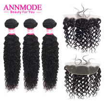 Annmode Brazilian Kinky Curly 3 Bundles With Frontal  Human Hair Non Remy Extension Natural Color