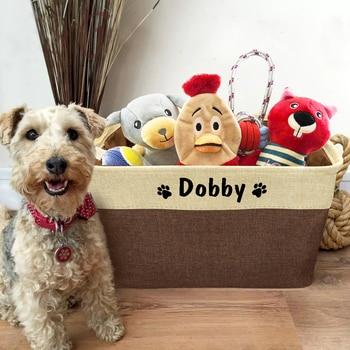 Personalized Pet Dog Toy Storage Basket Dog Canvas Bag Foldable Pet Toys Linen Storage Box Bins Dog Accessories Pet Supplies 4