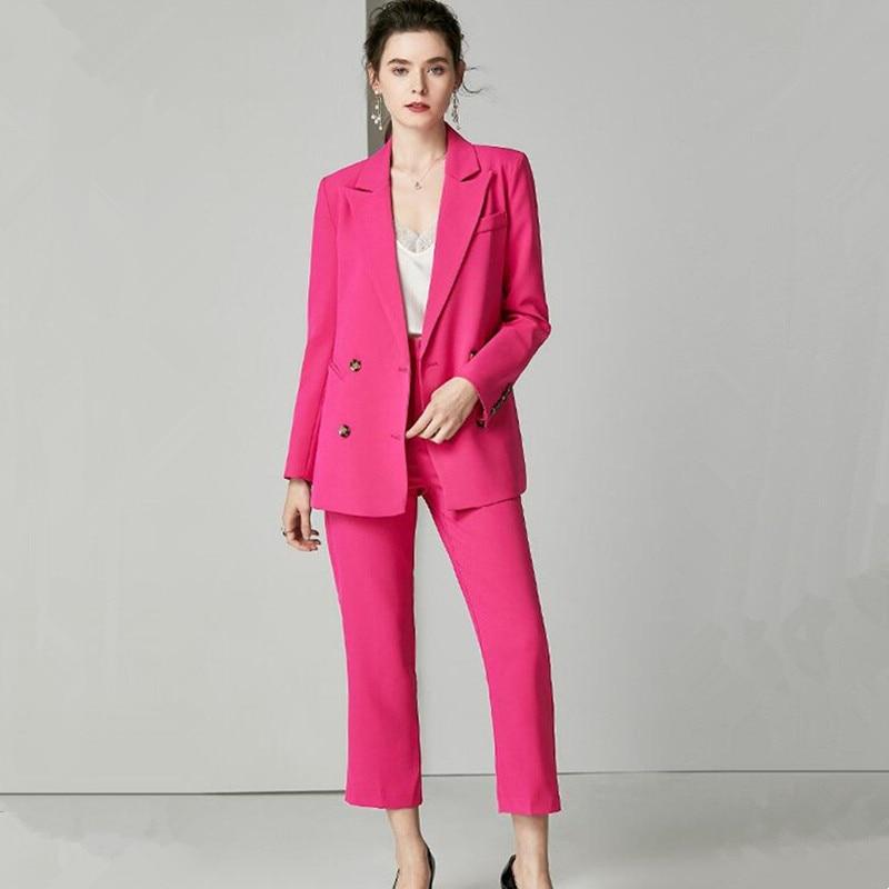 Fuchsia femmes affaires costumes Blazer veste + pantalon formel dames pantalon costumes bureau uniforme femme pantalon PantSuit sur mesure