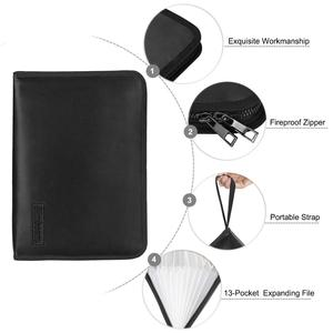 Image 3 - Fireproof Waterproof Document Bag A4 Size Money Bill File Folder Bag 13 Pockets Zipper Closure Silicone Coated Filing Pouch