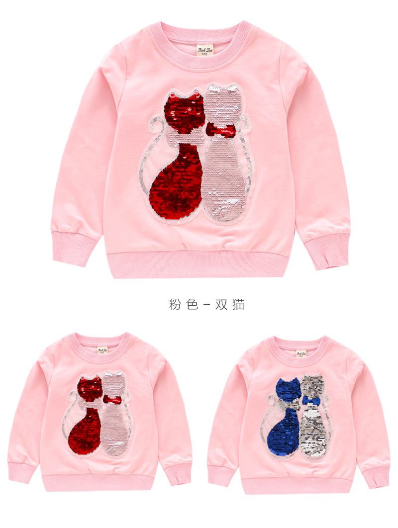 Autumn Girls T-Shirts Heart Sequined Tees