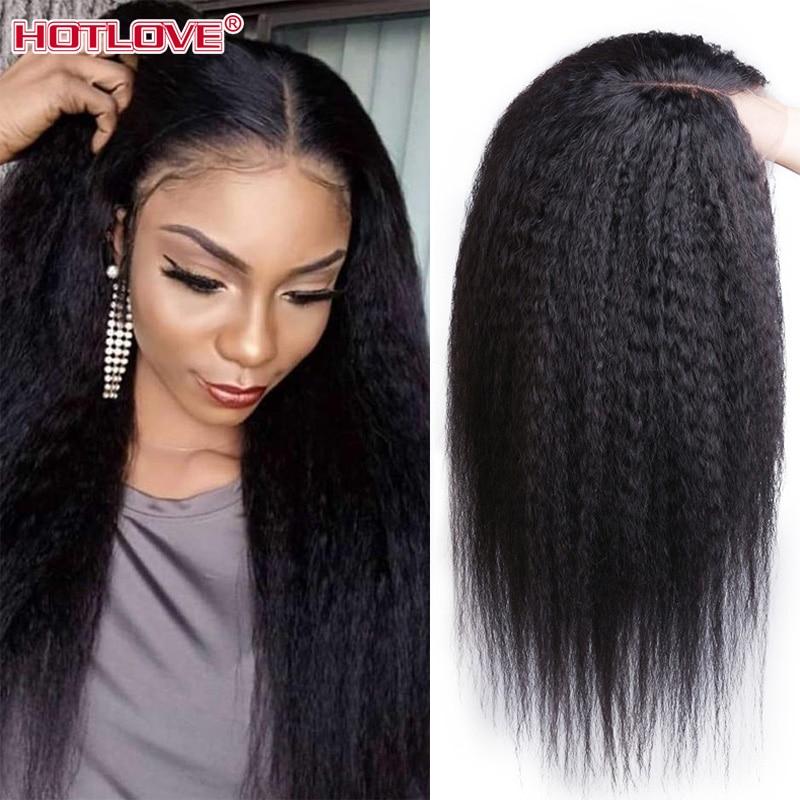 Parte do meio peruano kinky reta frente do laço perucas de cabelo humano 13x1 perucas frontal do laço 28 polegadas remy peruca de cabelo 180% densidade