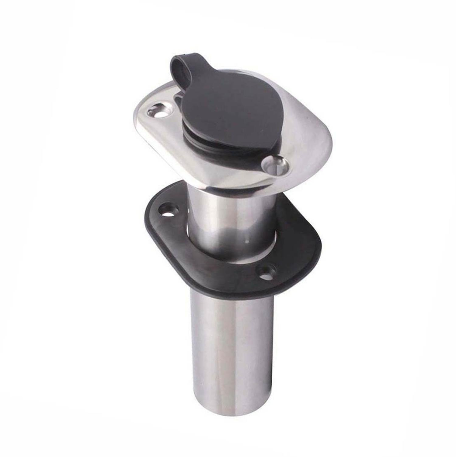 Stainless Steel Fishing Rod Holder 15 Degree Flush Mount Marine Yacht Boat