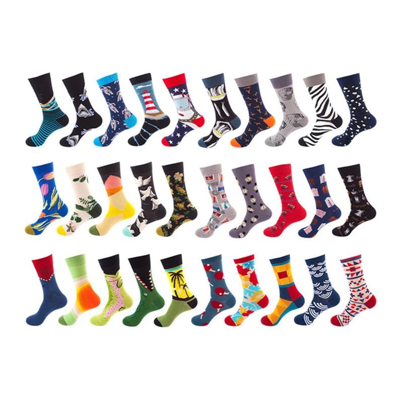 20 Colors Mens Happy Socks Striped Plaid Diamond Cherry Socks Men Combed Cotton Calcetines Largos Hombre Stock 1 Pair