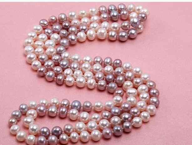 Bijoux collier de perles 47inl Long collier femmes classique naturel 8-9mm multicolore (blanc & lavande) Baroque frais livraison gratuite