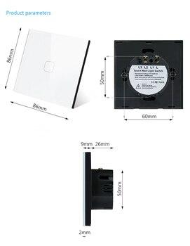 Panel de cristal de luz de pared de Control remoto con Interruptor táctil Mobu EU/UK estándar 1 gang 2 gang 1 Way