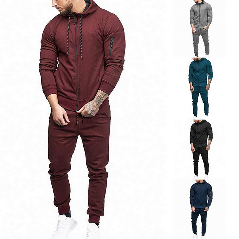 Oeak Men's Hoodie Long Sleeves Suits Solid Slim Fit Zip- Outdoor Tracksuit Sets (Pants+Tops) Two Pieces Cardigan Tops