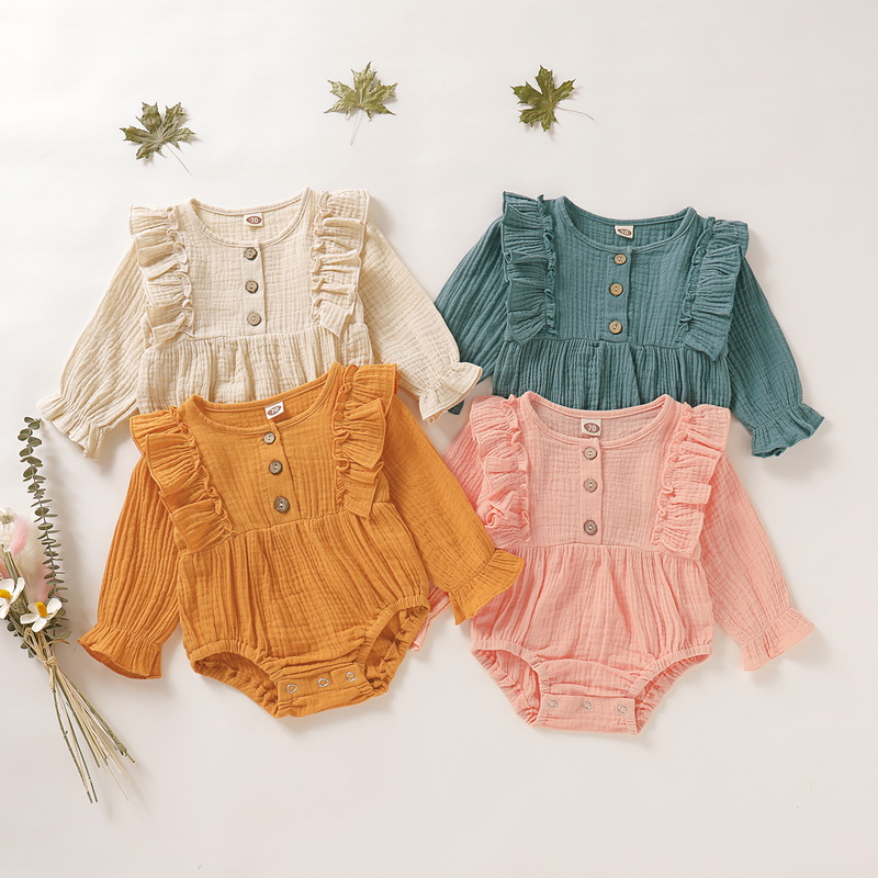 Cute Newborn Baby Girl Bodysuits Long Sleeve Ruffles RomperJumpsuit Summer Cotton New Born Body Clothes Infant Bebe Onesies D35