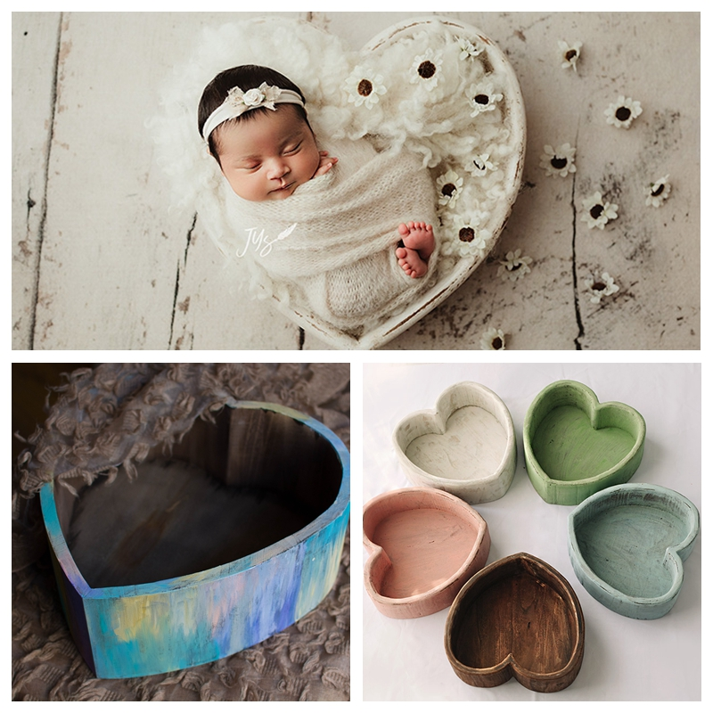 New Newborn Photography Props Heart Shaped Tub Love Shape Colorful Solid Wood Container Full Moon Baby Photo
