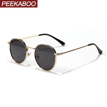 Peekaboo damskie okulary w stylu retro metalowe męskie letnie czerwone żółte złoto czarne okrągłe okulary męskie prezenty urodzinowe uv400 koło ramki tanie i dobre opinie ROUND Adult STOP Gradient 46mm Z poliwęglanu fb2189 50mm gold frame sunshades red lens glasses sun metal frame eyewear