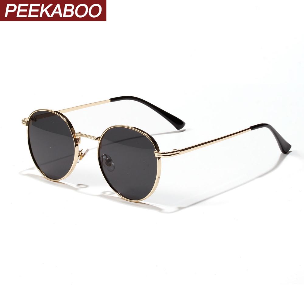 Peekaboo Women Retro Sunglasses Metal Men Summer Red Yellow Gold Black Round Sun Glasses Male Birthday Gifts Uv400 Circle Frame