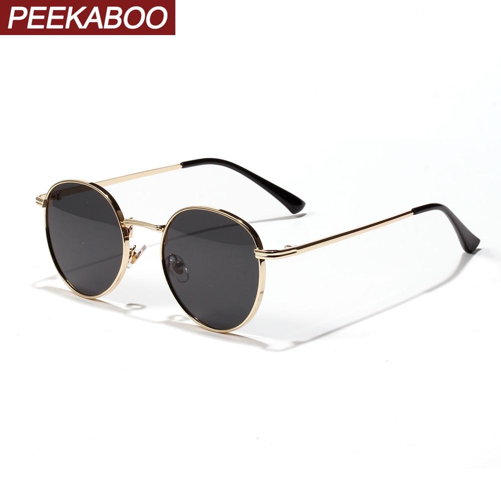 Peekaboo Women Retro Sunglasses Metal Men Summer Red Yellow Gold Black Round Sun Glasses Male Birthday Gifts Uv400 Circle Frame