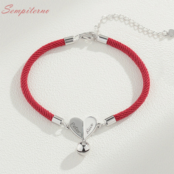 Red Rope Custom Couple Name Bracelets 925 Sterling Silver Charm For Making Bracelet Bangle DIY Jewelry Gift bamoer valentine day gift 925 sterling silver cheers for love couple beer pendant charm fit charm bracelet diy jewelry scc478