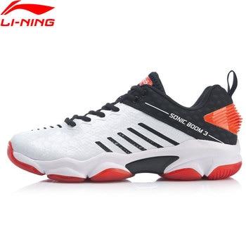 Мужская Спортивная обувь Li-Ning, профессиональная обувь для бадминтона SONIC BOOM 3,0 с подкладкой из углеродистой пластины, AYZP009 XYY150