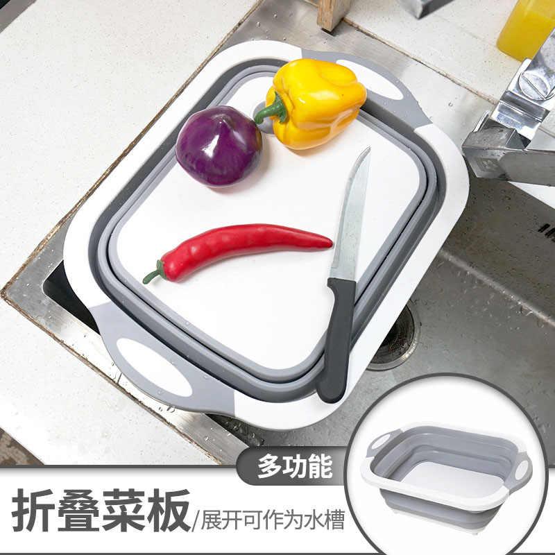 لوح تقطيع للمطبخ قابل للطي طبق حوض للطي قطع المجلس غسل مصفاة رف جاف سلة خضراوات