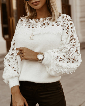 2020 Women Fashion Elegant Casaul Solid Round Neck Hollow Out Loose Sweater Woman Guipure Lace Lantern Sleeve Sweater lace applique lantern sleeve cold shoulder top