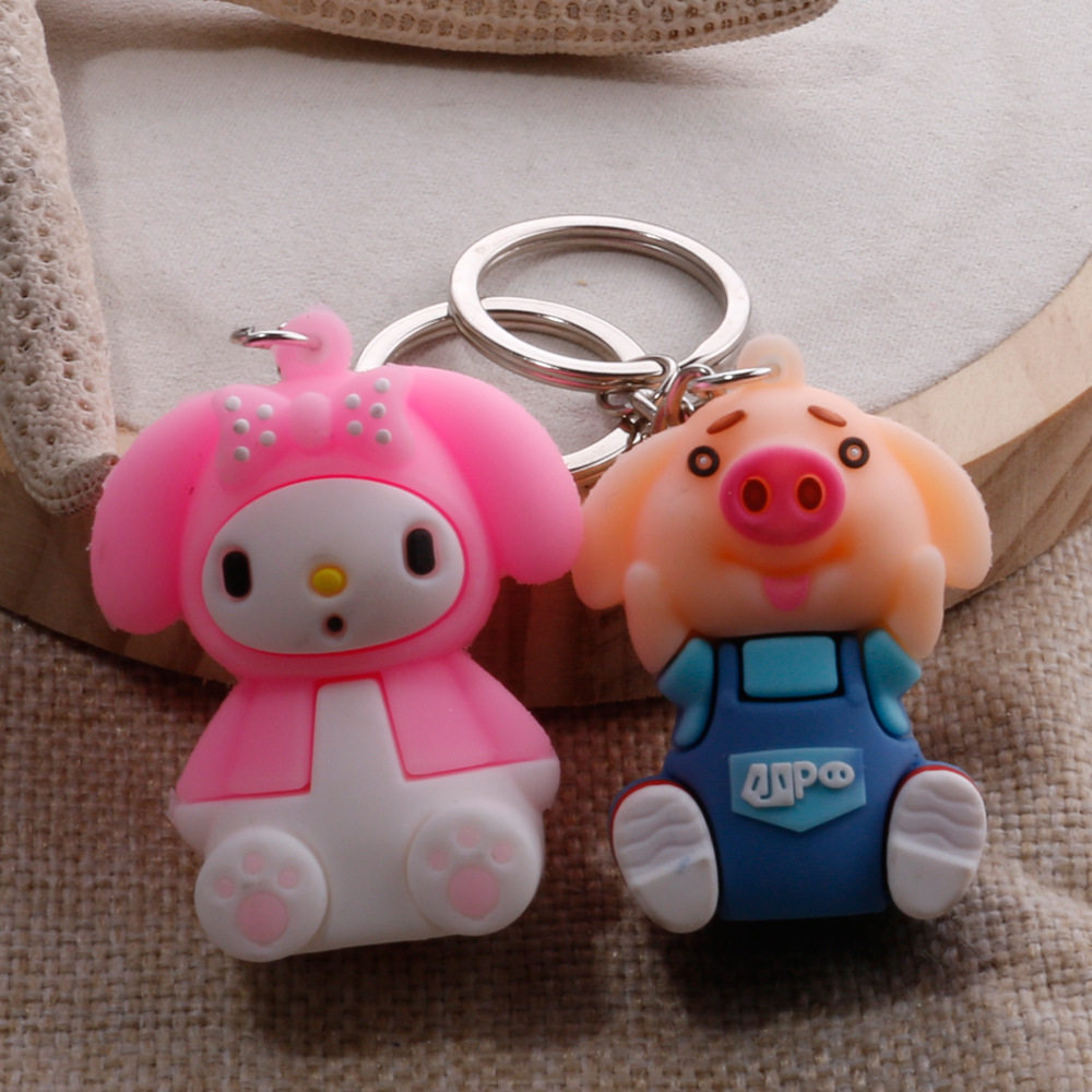 Cartoon Doll Keychain Soft Piggy Doll Student School Bag Pendant Children Doll
