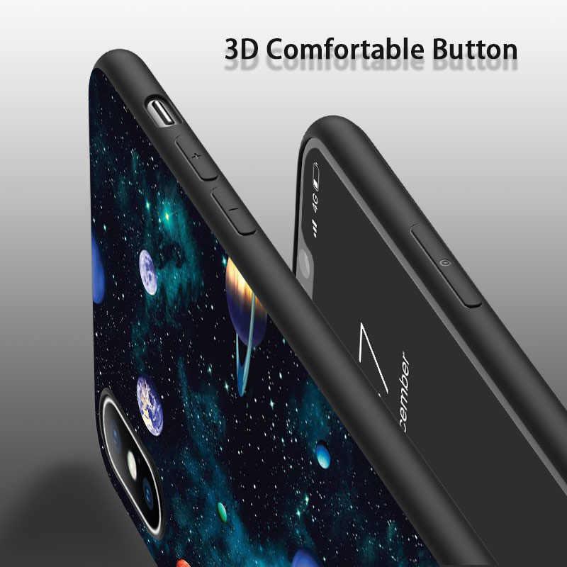 Lovebay Espace Lune Téléphone étuis pour iphone 11 Pro Max X XR Xs Max 6 6s 7 8 Plus 5 5s SE Planète Étoile étui arrière souple en silicone or polyuréthane thermoplastique