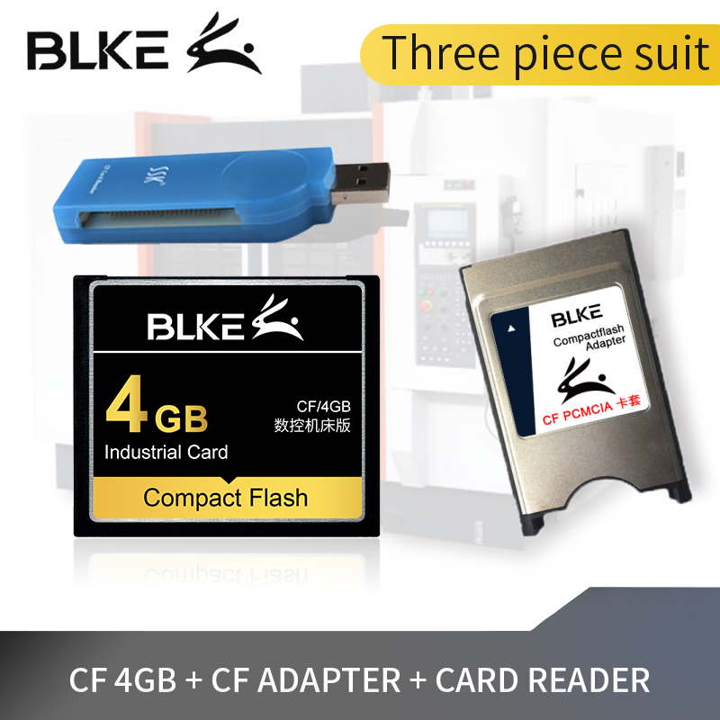 Three Piece Suit BLKE CF Card  +CF Adapter + Card Reader Compact Flash Card 4G 2G 1G 512M 256M 128M For Machine Tool/CNC/Fanuc