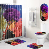Fashion African Shower Curtain Bathrom Carpet in Toilet Mat Anti Slip Bath Room with Shower Mat for Home Decor Blanket Doormat