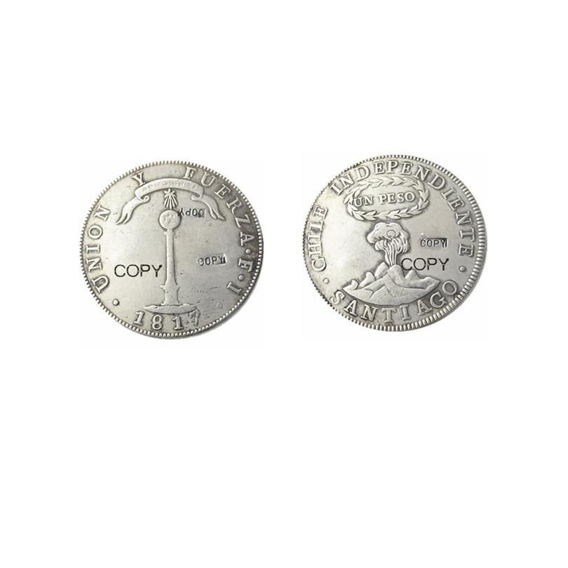 1817 1834  Chile UN PESO Silver Plated Copy Coins